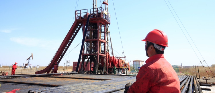 Oil and gas equipment at job site
